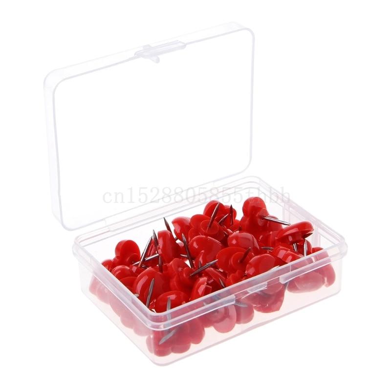50 Pcs Heart Shape Plastic Quality Colored Push Pins Thumbtacks Office School