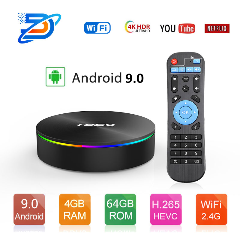 Boîtier TV T95Q Android 9.0 4G32 4G64G LPDDR3 Amlogic S905X2 Quad Core 2.4G & 5GHz double Wifi BT4.1 100M H.265 4K lecteur multimédia boîtier tv