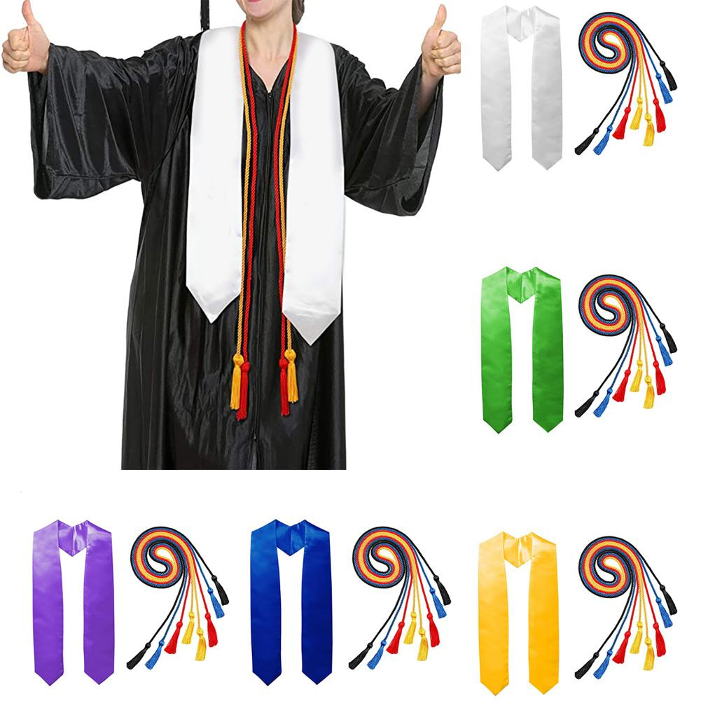 Solid Color Graduation Sash Shoulder Strap Graduation Honour Stole Sash Tassel Decor Cords Graduation Celebration Photo Props