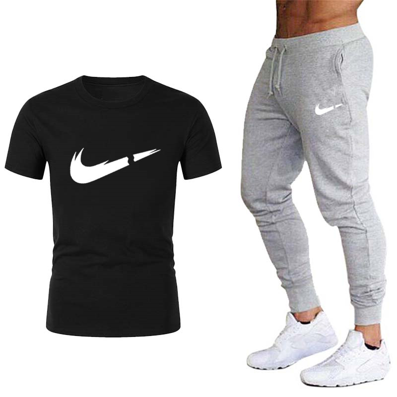 New Spring And Autumn Brand Gym Men's T-shirt + Men's Casual Sports Pants Jogging Sportswear 2019 Quality Bodybuilding Pants