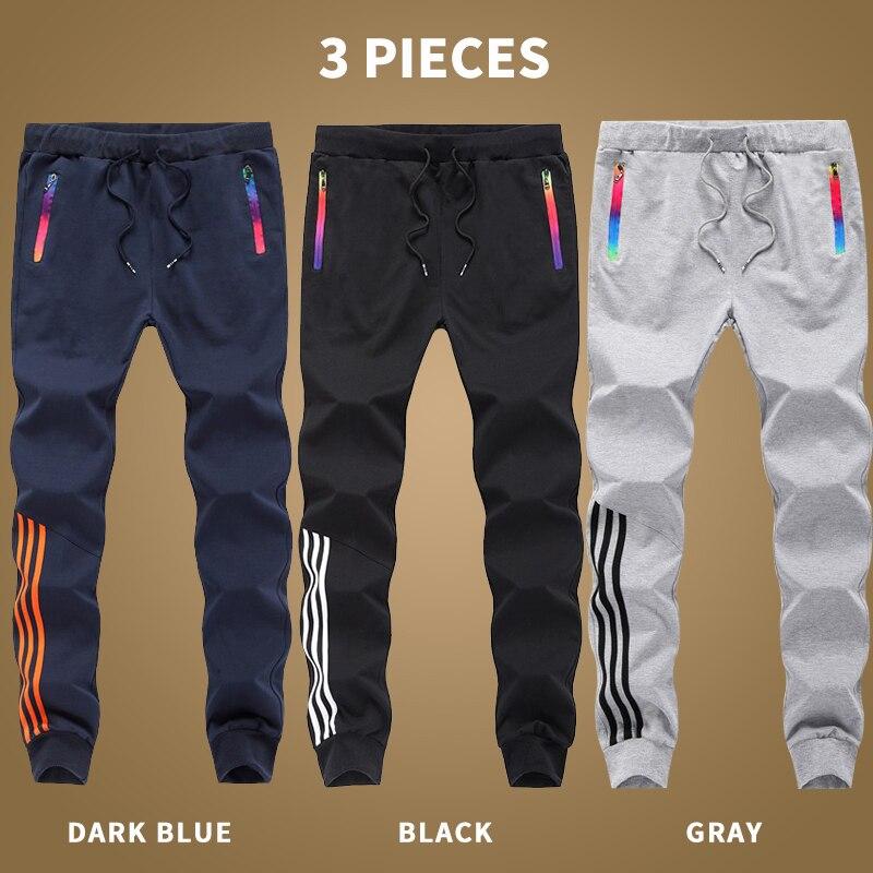 3 Pieces Autumn Hip Hop Pants Men Sweatpant Cotton Bodybuilding Joggers Striped Trousers Male Sportswear 4XL 5XL Pantalon Homme