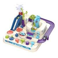 Modelo de coche de carreras de riel para niños, juguete educativo de carreras, juego de aventuras con pista de coches, juego de tren interactivo mecánico