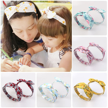 2pcs/Set Mommy and baby Floral Printed Headband Girl Flower Printing Mother Daughter Headbands Tie Knot Rabbit Ear Hairband tender babies baby girl clothing 3pcs set quilted jacquard hooded gilet and legging with rib cuff and soft printed floral t shir