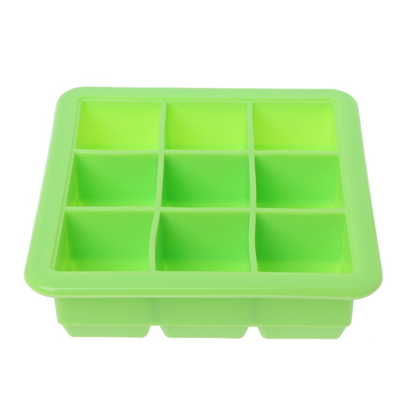 9 Grids Ice Cubes Tray Ice Cube Soft Silicone Mold Storage Containers Heat Cold Resistant Cookie Fondant Household Baking Tool