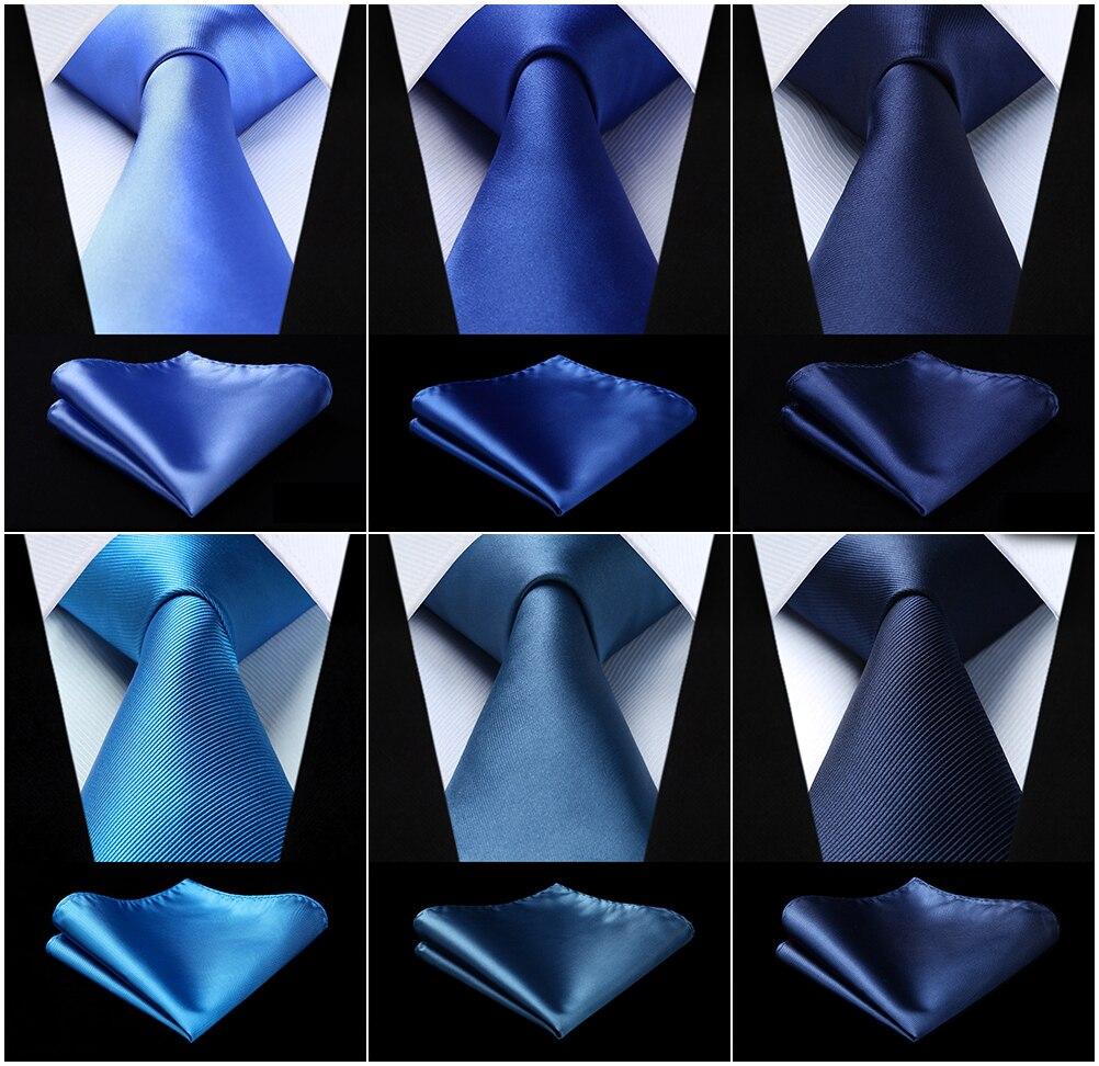 Party Wedding Men's Woven Silk Ties Pocket Square Set Solid Navy Blue Jacquard Necktie Handkerchief Set