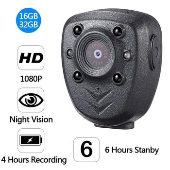 JOZUZE HD 1080P Mini Camera Police Body Lapel Worn Video DVR IR Night Visible LED Cam Record Digital DV Recorder