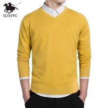 Autumn V-Neck Sweater Men Pullovers Long Sleeve Outwear Man sweaters  Slim Fit Solid Knitting Clothing Pull Homme 8color