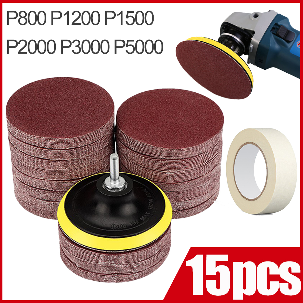 3 Inch 75mm Sandpaper Sanding Disc For Metal Auto Wood Car Wheel Restoration Sanding Polishing Kit 15pcs P800 P1200 P2000 P5000