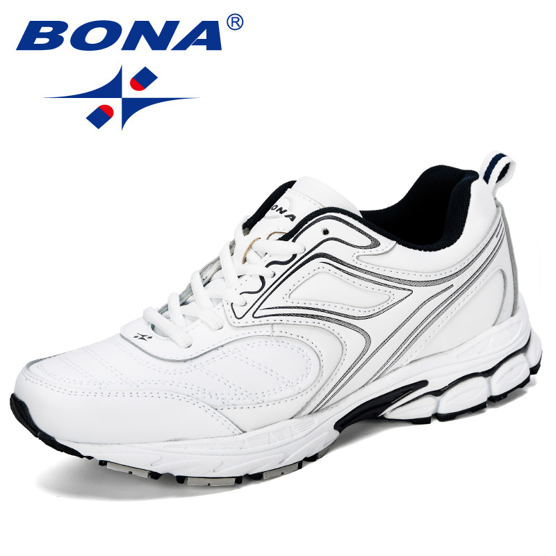 BONA 2019 New Designer Cow Split Leather Outdoor Men Sneakers Cushion Casual Shoes Men Height Increasing Leisure Footwear Male