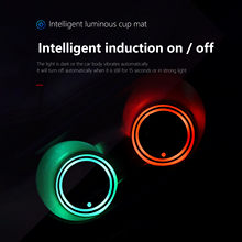 Soporte para taza de coche, luz LED de Ambiente, accesorios para coche, 7 colores, carga USB, bombillas de posavasos impermeables, envío rápido