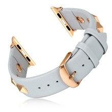 Bracelet en cuir Punk pour bracelet de montre Apple 44mm 40mm ceinture correas bracelet en cuir véritable iWatch 38mm 42mm série 3 4 5 se 6 bande