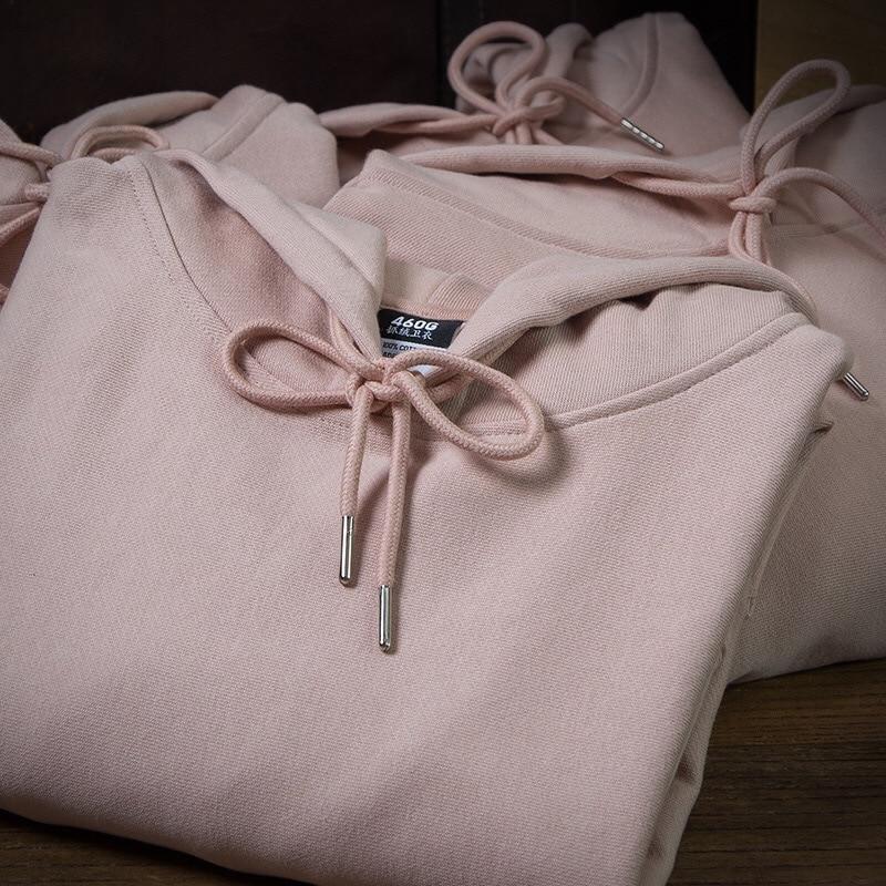 Hip Hop Heavy Cotton Fleece Hoodies Harajuku Dusty Pink Thick Sweatshirt