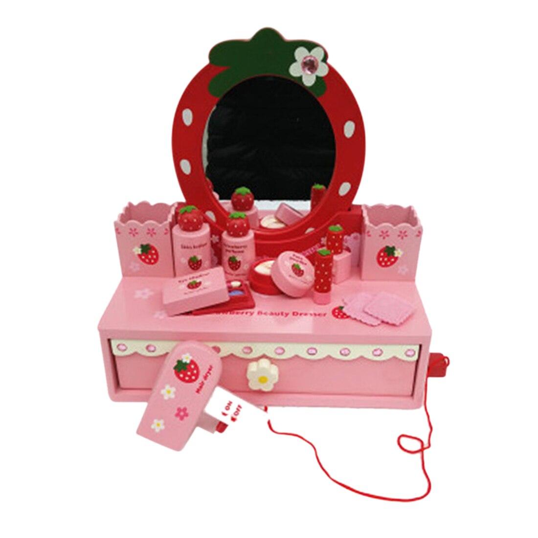 En bois semblant maquillage Playset jeu de rôle boite à bijoux beauté commode jouet cosmétiques ensemble jouet mignon jouer maison enfants cadeau-rouge rose