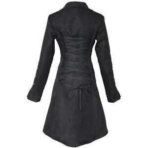 Image 3 - ヴィンテージスチームパンクゴシックスタイルの綿のジャケットリベットタキシードコート女性のための生地スリムアリコートトップ女性黒