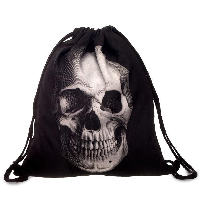 Bundle Pocketrope Bag Geometric Backpack 3D Printing Travel Softback Mochila Drawstring Mens Backpacks Skull Knapsack Backpack