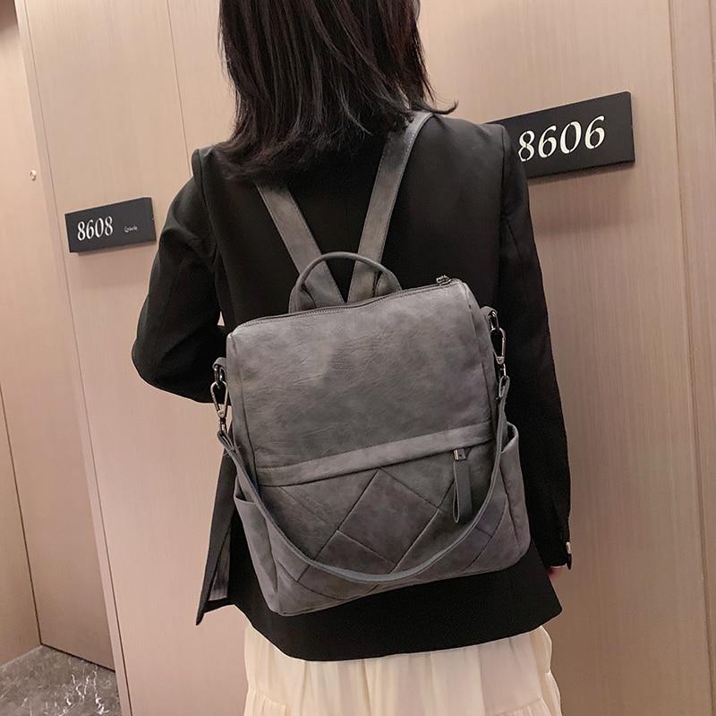 Image 3 - Fashion Women Backpack High Quality Soft Leather School Backpacks for girls Female Casual Large Capacity Vintage Shoulder BagsBackpacks   -