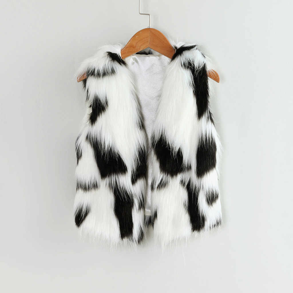 Toddler Kids Baby Girl Winter Warm Splice Faux Fur Thick Coat Outwear Children Winter sleeveless plush vest jacket Waistcoat