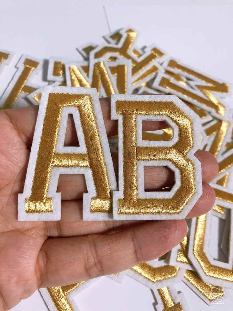 Licht gouden Letters Patch Alfabet Geborduurde Applique Letters iron on Patches