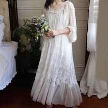 Nightgown Lady Sleepwear  Lace Sweet Night Dress Princess Women Nightdress Medieval Palace Style