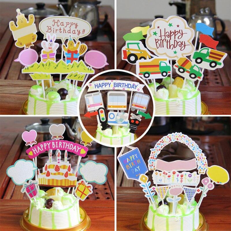 AQ wszystkiego najlepszego z okazji urodzin dekoracja na tort na przyjęcie kreskówka kwiat miłość serce dekoracja samochodu na Baby Shower ozdoby dekoracja na urodziny karta papierowa