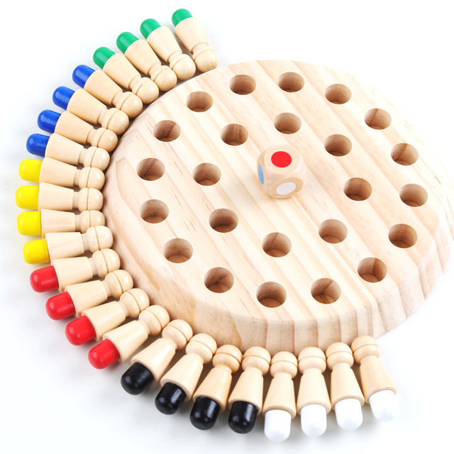 Kids Wooden Memory Chess Match Stick Chess Game 3D Puzzles Board Game Educational Color Animal Cognitive Ability Toy Gifts