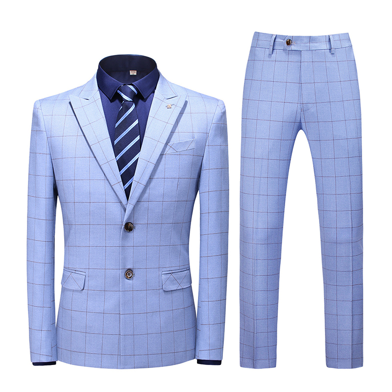 Korean Clothes Men's Plaid Suit Set 2020 Spring Summer Suit Jacket With Trousers Business Formal Wedding Casual Suit For Male