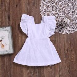 Crianças meninas vestido de algodão cor sólida das crianças bebê confortável bonito botão de volta um pedaço de pano venda quente nova chegada