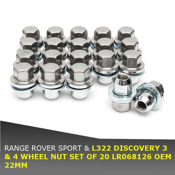 Newest 20pcs/set 22MM Wheel Nut Set LR068126 For Land Rover For Range Rover Sport L322 For DISCOVERY 3/4
