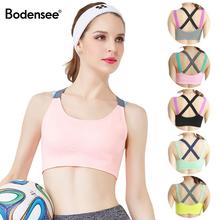 BODENSEE Women Sports Bra Full Cup Breathable Top Shockproof Cross Back Plus Siz