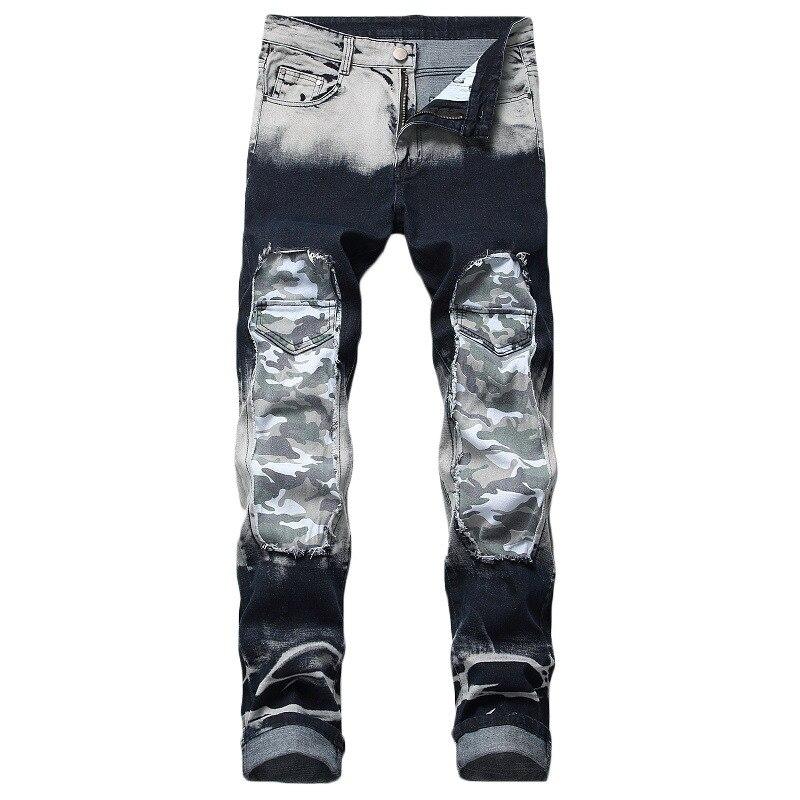 Nostalgic Jeans Men's Straight Tube Slim Hole Color Blocking Patch Decoration Trendy Pants Elastic European American Jeans