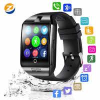 2020 Bluetooth Smart Uhr Männer Q18 Unterstützung Touchscreen Große Batterie Mit TF Sim Karte Kamera für Android Telefon Smartwatch