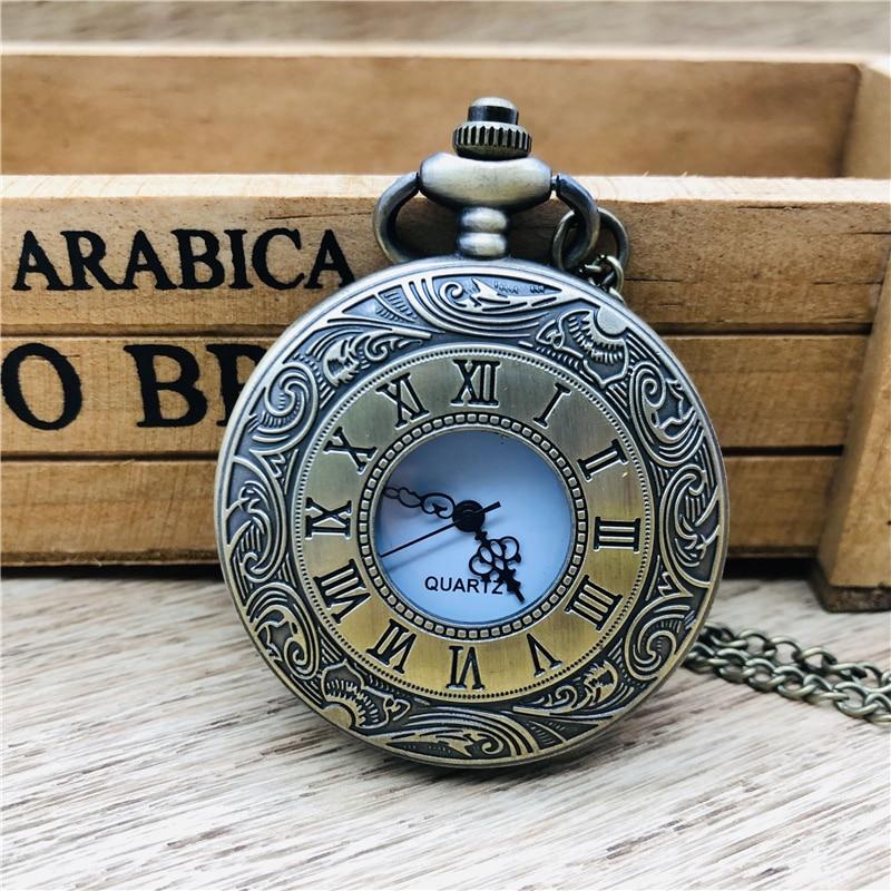 Steampunk romen rakamları cep saati erkekler kadınlar içi boş durumda eski Fob cep saati es kolye kolye hediye cep saati