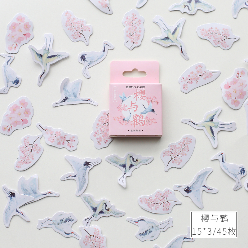 46 Pcs/pack Cherry Sakura Crane Bullet Journal Decorative Stickers Adhesive Stickers DIY Decoration Diary Stationery Stickers