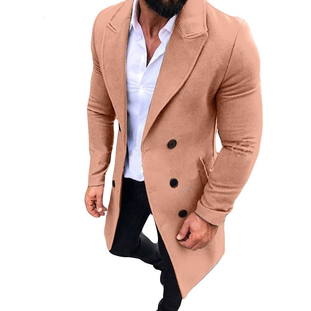 Mais novo masculino trench coat social longo
