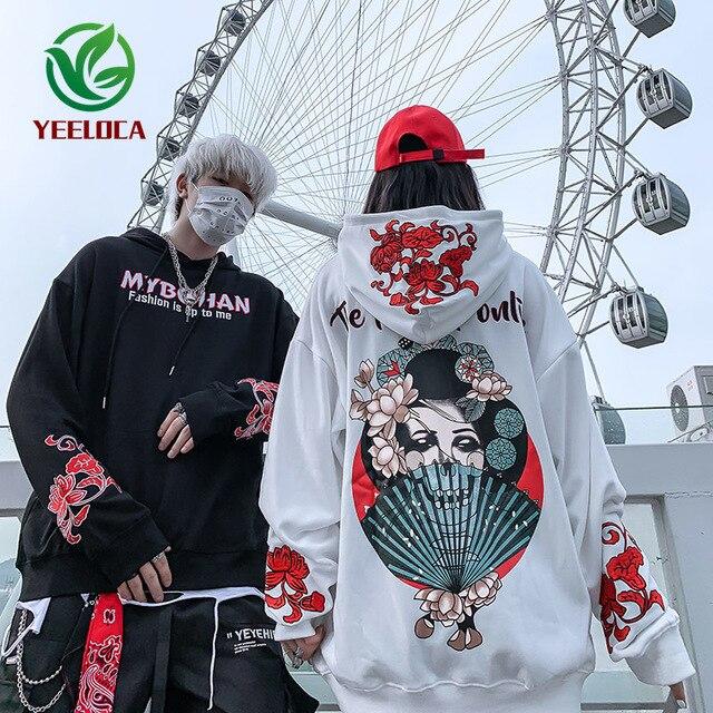 2019 Thu Đông Phong Cách Nhật Bản Ca Sĩ Khoai Môn Hoa Áo Hoodie Nam Nữ Hip Hop Lớn Cotton Retro Thời Trang Áo