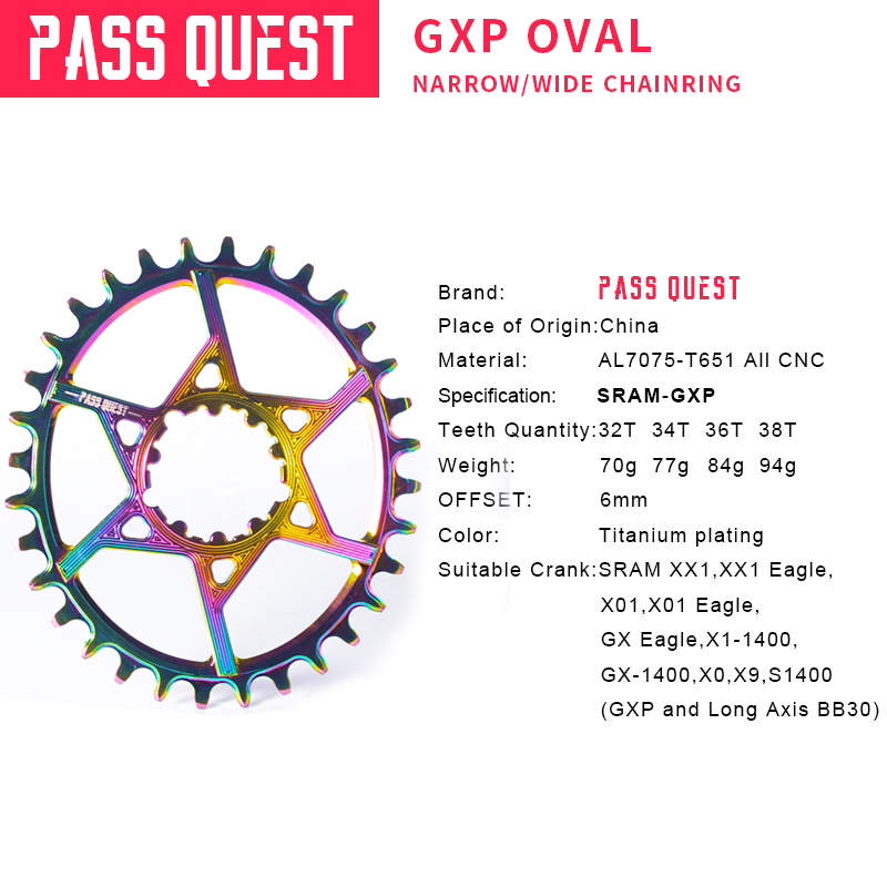 PASS QUEST SRAM gx xx1 eagle GXP Titanium plated Oval MTB Narrow Wide Chainring 32T 38T Bike Chainwheel 6mm Offset Crankset in Bicycle Crank Chainwheel from Sports Entertainment