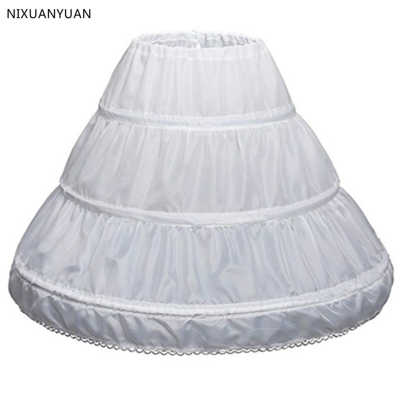 Top Sale White Children Petticoat A-Line 3 Hoops One Layer Kids Crinoline Lace Flower Girl Dress Underskirt Elastic Waist