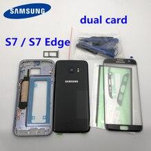 S7 가장자리/s7 중간 프레임 배터리 후면 커버 삼성 갤럭시 g930f g935f 전체 주택 터치 유리 렌즈 듀얼 카드