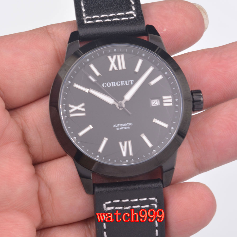 Corgeut 40 mm Black dial calendar stainless steel case Luminous man's watch black Leather strap man's automatic mechanica watch