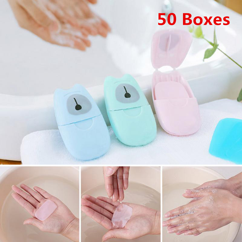 50 Boxes Travel Portable Disposable Boxed Paper Soap Disinfecting Cleaning Hand Washing Box Scented Slice Sheets Soap TSLM2