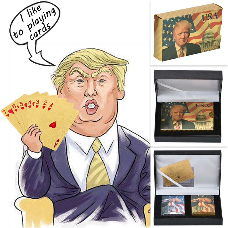 WR Donald Trump Plastic Playing Cards Poker Gold And Silver Poker Set Waterproof Mens Birthday Gift Ideas Dropshipping