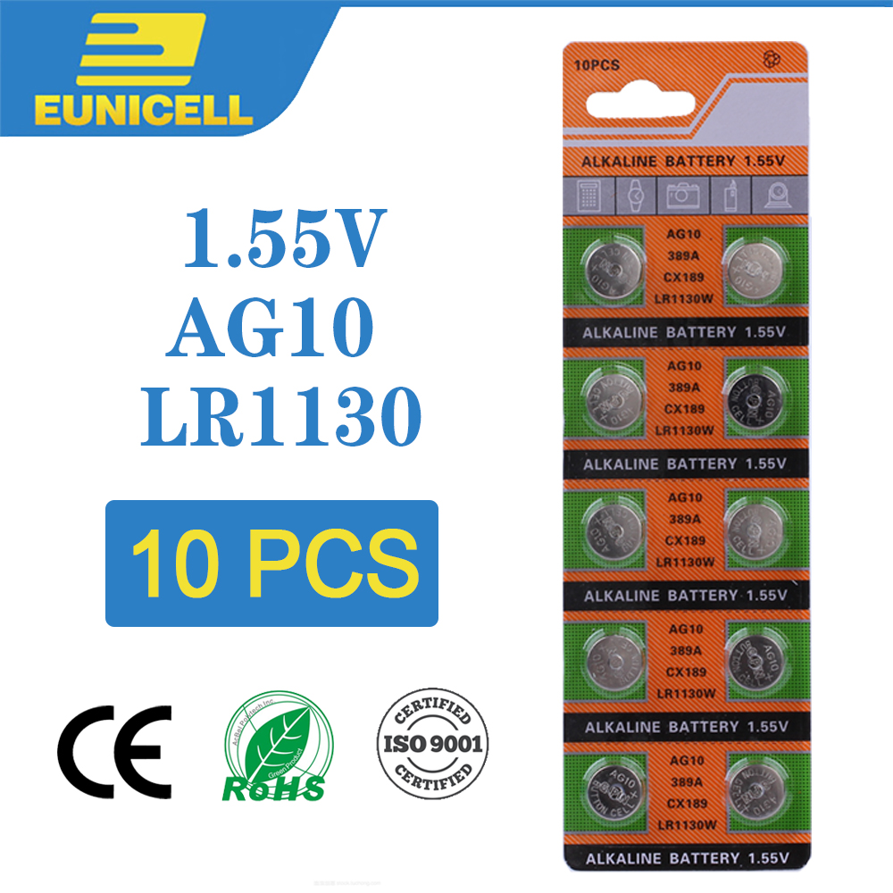 10pcs Alkaline Cell Coin Battery 1.55V AG10 LR54 Button Batteries 189 SR54 389 189 LR1130 389 SR1130 L1131 G10A AG 10 For Watch