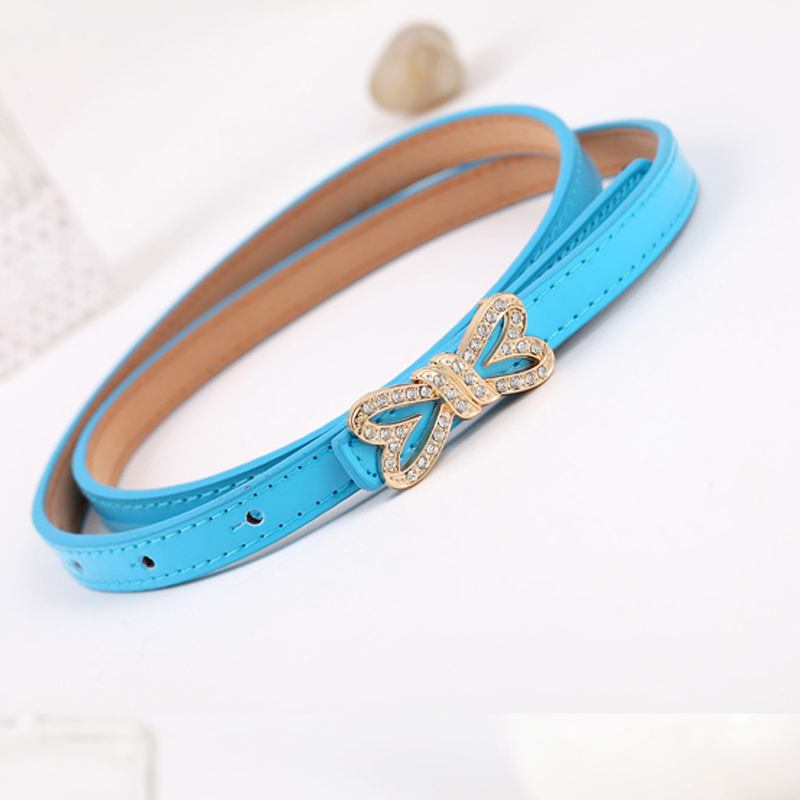 New Diamond Butterfly Festival Buckle Women's Belt Double Love Round Candy Color Fashion Fine Decorative Belt Valentine's Gift