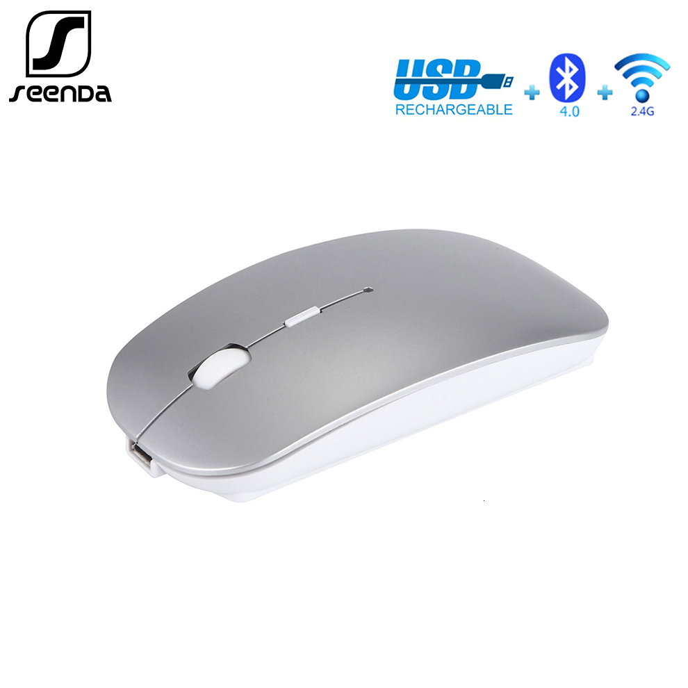 SeenDa 4.0 Bluetooth Wireless Mouse 2.4Ghz Rechargeable Mouse For Apple Mac PC Laptop Android Slient Mice Slim Adjustable DPI