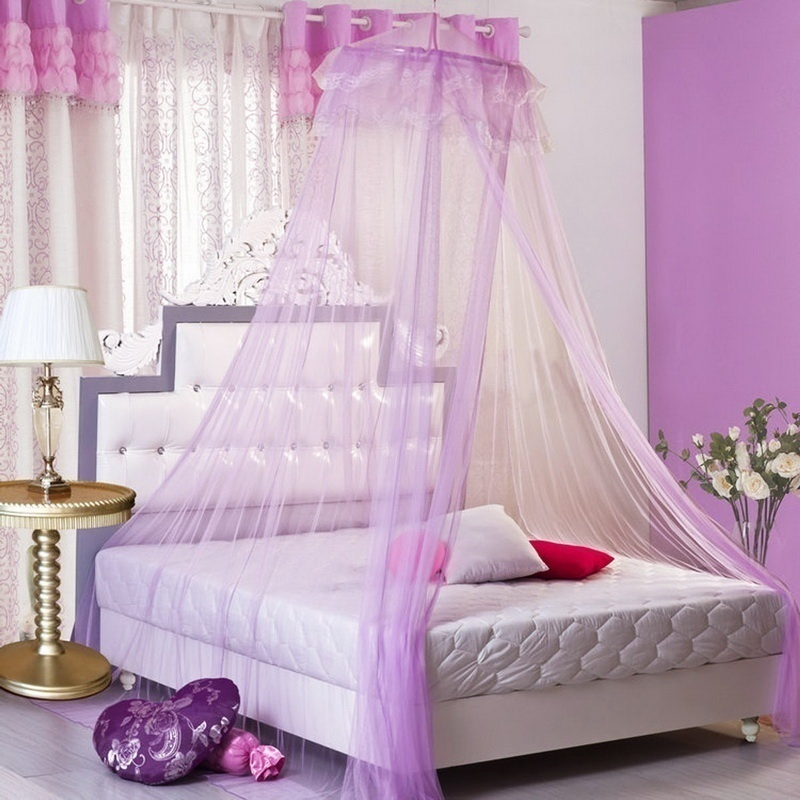 New Romantic Pink Hung Dome Mosquito Net Insecticide Treated Folded Lace Polyester Round Mosquito Nets Curtains for Bed