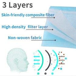 50 sztuk Maska ochronna na twarz filtr dla dorosłych Anti Virus Maska ochronna włóknina 3 Laye zanieczyszczenia pyłu jednorazowe maski 2