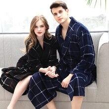 Мужской зимний плед плюс размер длинный коралл, овечья шерсть, халат для ванной 40-130 кг теплый фланелевый банный халат кимоно пеньюары домашний халат ночная Пижама
