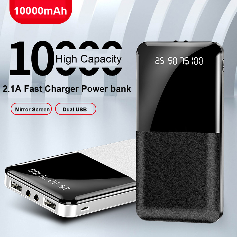 Black LED Digital Display External Batte-ry Pack Dual USB Fast Charg-ing Po-werbank Universal for All Mobile Phone 10000mAh Poverbank Portable Char-ger