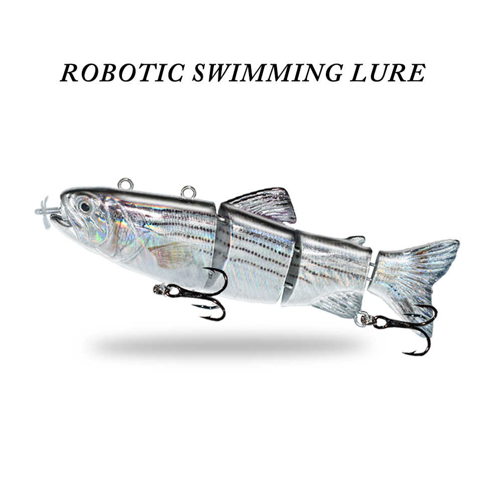 ODS Robotic Swimming Lockt Angeln Auto Elektrische Locken Köder Wobbler Für 4-Segement Swimbait USB Aufladbare Blinkende LED licht