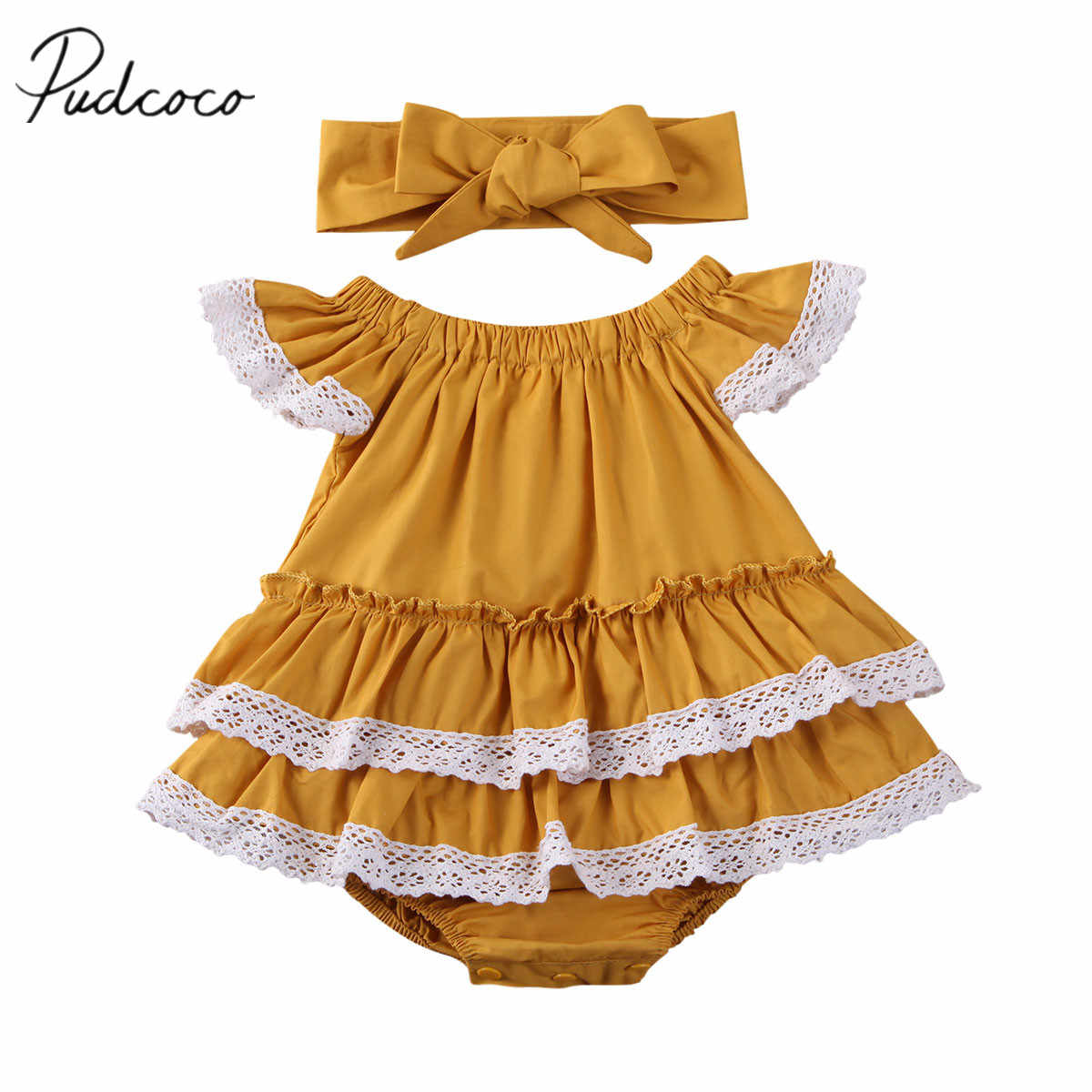 2020 Baby Summer Clothing Infant Baby Girl Kid Lace Bodysuit Ruffled Solid Jumpsuit Top + Headband Clothes Set